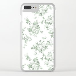 Elegant vintage green white roses shabby floral Clear iPhone Case