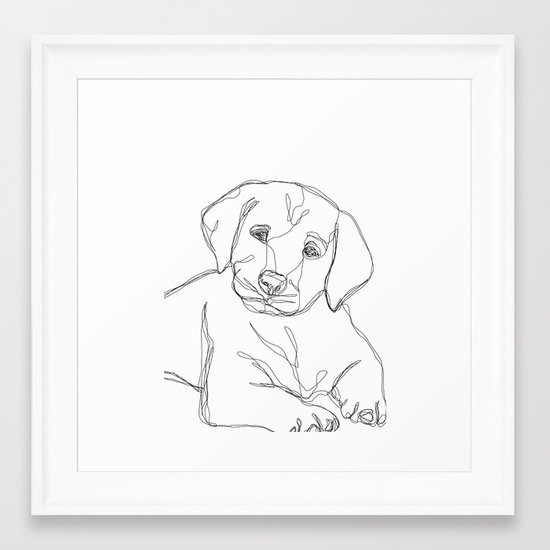 Labrador Line Art Vector Of A Dog Head Labrador Retriever On White
