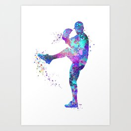 Boy Baseball Softball Pitcher Blue Purple Colorful Watercolor Art Sports Gift Art Print