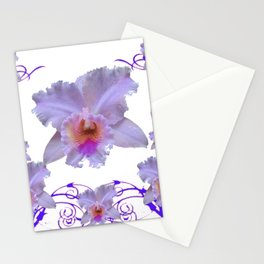 WHITE CATTLEYA ORCHIDS & PURPLE  ART Stationery Cards
