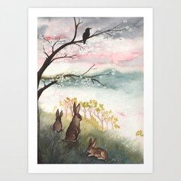 Three Rabbits and Plum Blossoms Art Print