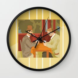 Card players by Cezanne Wall Clock