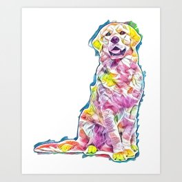 Golden retriever dog sitting and panting, isolated        - Image Art Print