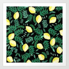 Random watercolour lemon and leaf pattern on black Art Print