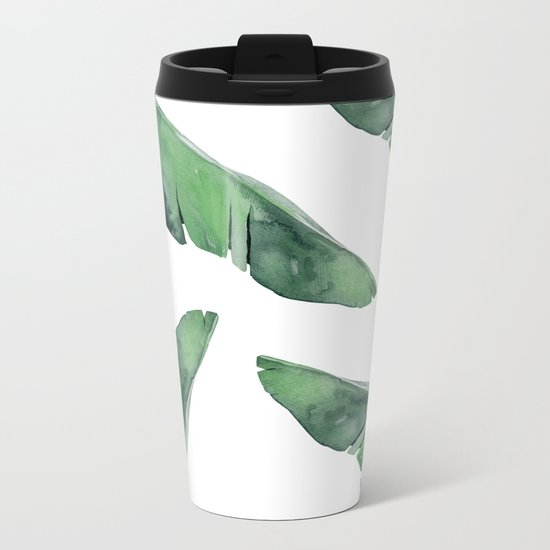 Banana Leaves Green Metal Travel Mug
