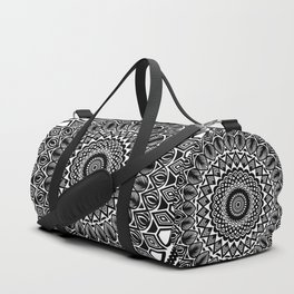 Detailed Black and White Mandala Duffle Bag
