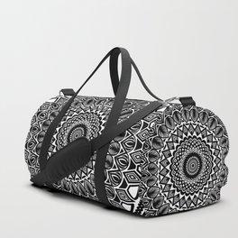 Detailed Black and White Mandala Duffle Bag