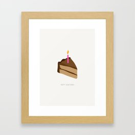 Happy Birthday Piece of Cake and Candle Framed Art Print