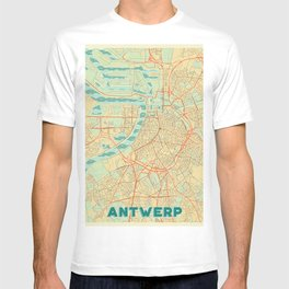 Antwerp Map Retro T-shirt