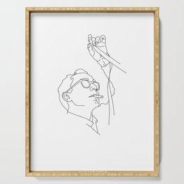 Jean-Luc Godard minimal line drawing Serving Tray
