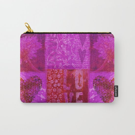 Pink heart flower love painting Carry-All Pouch