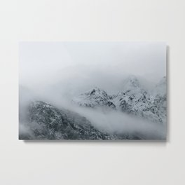 Clouds flowing over mountains Metal Print