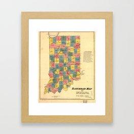 Vintage Indiana Railroad Map (1852) Framed Art Print