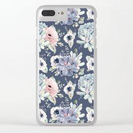 Beautiful Succulent Garden Navy Blue + Pink Clear iPhone Case