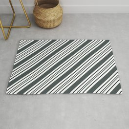 PPG Night Watch Pewter Green and Dark Green Thick and Thin Angled Lines - Stripes Rug
