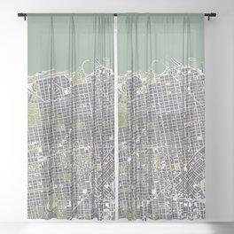 San Francisco city map engraving Sheer Curtain