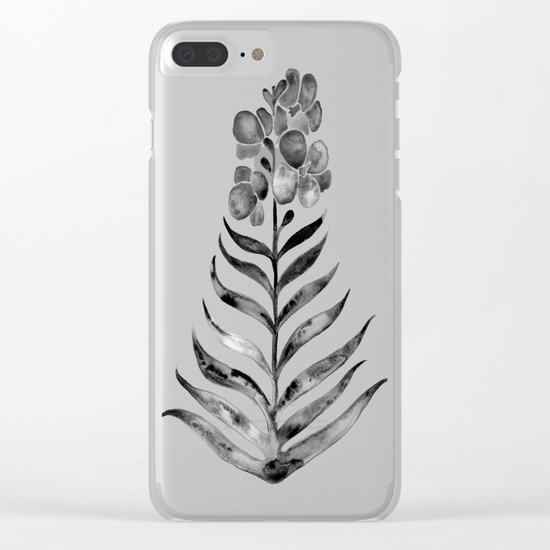 Blooming Black Orchid Clear iPhone Case