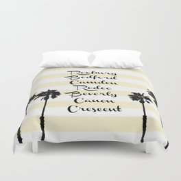 Beverly Hills Street Names Palm Trees Yellow Stripes Duvet Cover