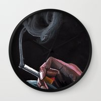 smoking Wall Clocks featuring Smoking by Tina Mooney