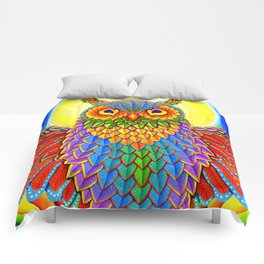 Colorful Rainbow Owl Comforters