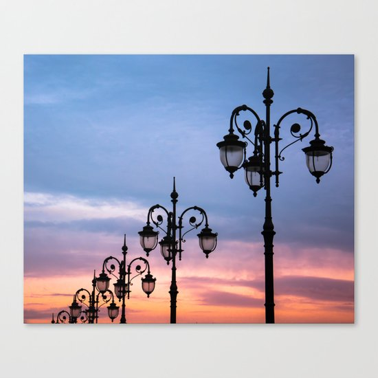 city lights in the evening sky Canvas Print