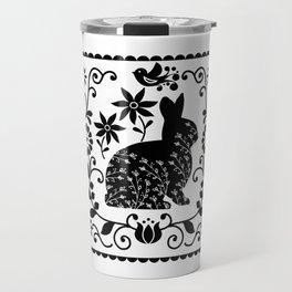 Woodland Folk Black And White Bunny Tile Travel Mug