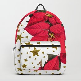 Red Christmas flower and sparkly gold stars Backpack
