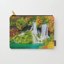 Waterfall and Lake in Autumn Forest Carry-All Pouch