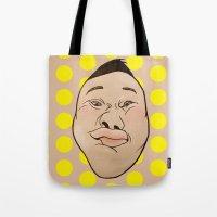 he man Tote Bags featuring HE HE HE  by RUEI