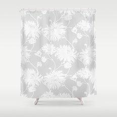 White Floral Poms Shower Curtain