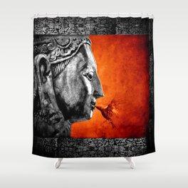 BUDDHA KISS - frame orange black version Shower Curtain