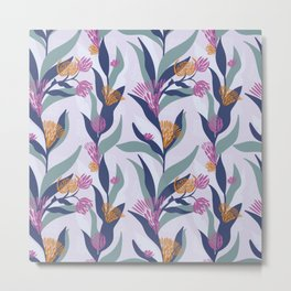 Delicate trailing floral design on a soft mauve base Metal Print
