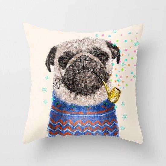 Mr.Pug II Throw Pillow
