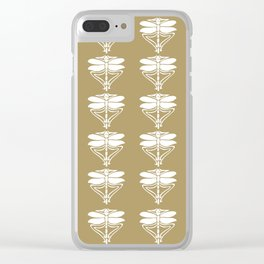 Teak Arts and Crafts Dragonflies Clear iPhone Case