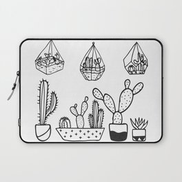 Cactus Garden Black and White Laptop Sleeve