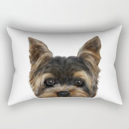 Yorkshire Terrier Mix colorDog illustration original painting print Rectangular Pillow