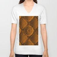 orange pattern V-neck T-shirts featuring Power Pattern 04 orange by MehrFarbeimLeben