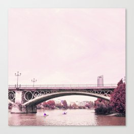 Pink mood at Triana Bridge Canvas Print