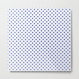 Cobalt Blue Star Pattern on White Metal Print