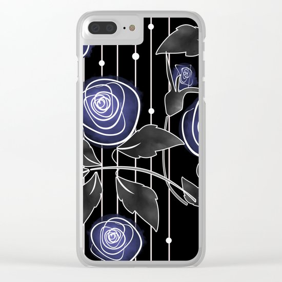 Blue roses on black background Clear iPhone Case