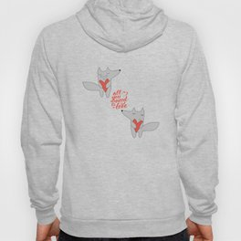 Fox in love with heart gray texture all you need is love Hoody