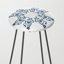 Blue Floral Heart Tile Counter Stool