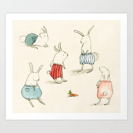 If Rabbits Wore Pants Art Print