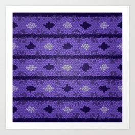 Aztec Deep Purple Mosaic Design Art Print