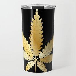 Gold Cannabis Leaf Travel Mug