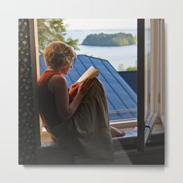 Book with a view Metal Print