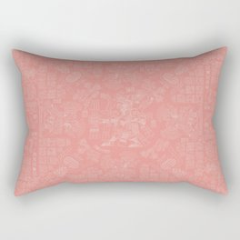 Mayan Spring CORAL / Ancient Mayan hieroglyphics mandala pattern Rectangular Pillow