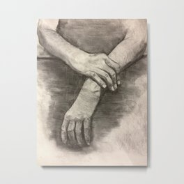 Charcoal Hands Metal Print