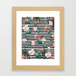 Tropical Florals & Foliage on Stripes #1 #decor #art #society6 Framed Art Print