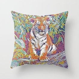 Tiger Cub Pop Art Throw Pillow